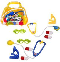 Kit medico infantil doutor com estetoscopio e acessorios 5 pecas na maleta - Wellmix
