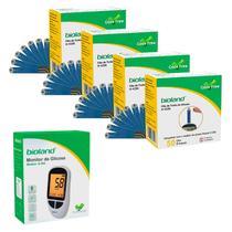 Kit Medidor de Glicose + 225 Fitas para Glicosímetro Bioland Modelo G500 -