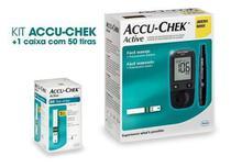 Kit Medidor De Glicose Accu-chek Active Roche + 50 Tiras -