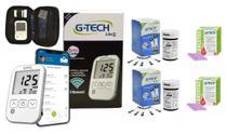 Kit Medidor de Glicose G-TECH Free Lite Smart Completo + 100 Tiras Reagentes e 100 lancetas -