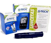 Kit Medidor de Glicose G Tech Lite com Caneta + 50 Tiras + 100 Lancetas -