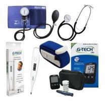 Kit Medidor de Pressão + Aparelho De Medir Glicose +  Termometro + Garrote Azul - Premium