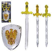 Kit medieval com 3 espadas + escudo 4 pecas na cartela - PICA PAU