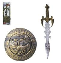 Kit Medieval Com Espada + Escudo Weapons Series Na Cartela - Altimix