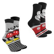 Kit Meia Infantil Disney Cano Longo Mickey 2 Pares Masculina -