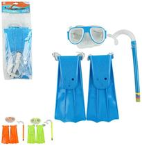 Kit Mergulho Com Mascara / Snorkel / Pé de Pato Colors Summer Fun - Wellmix