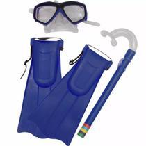 Kit Mergulho Mascara/ Snorkel/  Pé De Pato Kids Tam 27 Ao 32- azul - Art Sport
