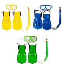 Kit Mergulho Óculos Pé de Pato e Snorkel Infantil Colorido - Sun Way
