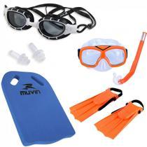 6046cc620 Kit Mergulo Infantil + Oculos de Natacao Preto + Prancha Corretiva Muvin