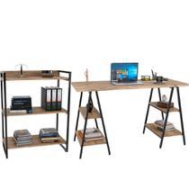 Kit Mesa Cavalete 150 cm com Estante 3 Prateleiras Estilo Industrial Form C01 Carvalho - Lyam Decor -