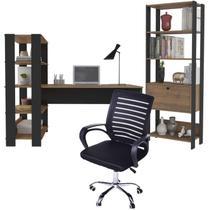 Kit Mesa de Computador Para Casa Com Estante Industrial e Cadeira Diretor - Artely