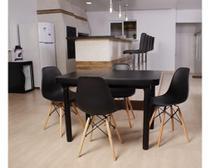 Kit Mesa De Jantar França 110x80 Preta + 04 Cadeiras Charles Eames - Preta - Magazine Decor