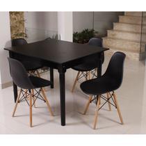 Kit Mesa De Jantar Robust 110x90 Preta + 04 Cadeiras Charles Eames - Preto - Magazine Decor