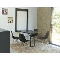 Kit Mesa Dobrável Retrátil 120x75 Preta + 4 Cadeiras Charles Eames Preta - Magazine Decor