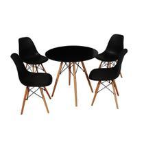 Kit Mesa Jantar Eames Eiffel 90cm + 4 Cadeiras Eames Eiffel - Preta - Império Brazil Business