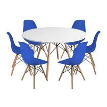 Kit Mesa Jantar Eiffel 120cm Branca + 6 Cadeiras Charles Eames - Azul - Império Brazil Business