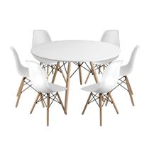 Kit Mesa Jantar Eiffel 120cm Branca + 6 Cadeiras Charles Eames - Branca - Magazine Decor