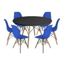 Kit Mesa Jantar Eiffel 120cm Preta + 6 Cadeiras Charles Eames - Azul - Império Brazil Business