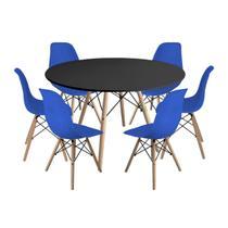 Kit Mesa Jantar Eiffel 120cm Preta + 6 Cadeiras Charles Eames - Azul - Magazine Decor