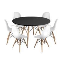 Kit Mesa Jantar Eiffel 120cm Preta + 6 Cadeiras Charles Eames - Branca - Império Brazil Business