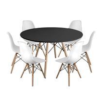 Kit Mesa Jantar Eiffel 120cm Preta + 6 Cadeiras Charles Eames - Branca - Magazine Decor