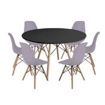 Kit Mesa Jantar Eiffel 120cm Preta + 6 Cadeiras Charles Eames - Cinza - Império Brazil Business