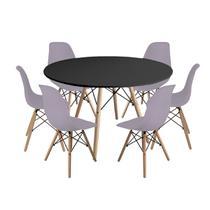 Kit Mesa Jantar Eiffel 120cm Preta + 6 Cadeiras Charles Eames - Cinza - Magazine Decor
