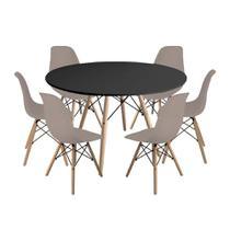 Kit Mesa Jantar Eiffel 120cm Preta + 6 Cadeiras Charles Eames - Nude - Império Brazil Business