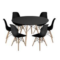 Kit Mesa Jantar Eiffel 120cm Preta + 6 Cadeiras Charles Eames - Preta - Império Brazil Business