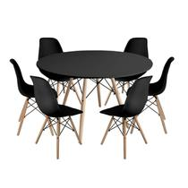 Kit Mesa Jantar Eiffel 120cm Preta + 6 Cadeiras Charles Eames - Preta - Magazine Decor