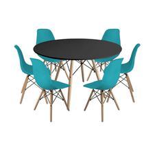Kit Mesa Jantar Eiffel 120cm Preta + 6 Cadeiras Charles Eames - Turquesa - Magazine Decor