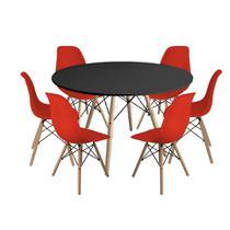 Kit Mesa Jantar Eiffel 120cm Preta + 6 Cadeiras Charles Eames - Vermelha - Magazine Decor