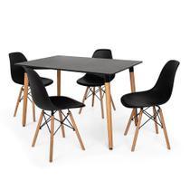 Kit Mesa Jantar Eiffel 120x80cm Preta + 4 Cadeiras Charles Eames - Preta - Magazine Decor