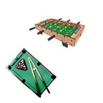 kit mesa Jogo Mini Bilhar Sinuca Mini Mesa Pebolim Totó Futebol - Brilho de diamante
