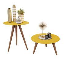 Kit mesa lateral e centro amarela natália com pés retrô - J3 MÓVEIS