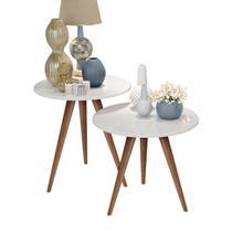 Kit mesa lateral e mesa centro branco isa pés retrô - CRB - J3 Móveis