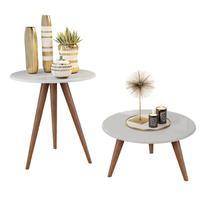 Kit mesa lateral e mesa centro branco natália pés retrô - CRB - J3 Móveis