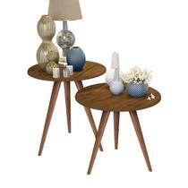 Kit mesa lateral e mesa centro madeira isa pés retrô - CRB - J3 Móveis