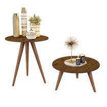 Kit mesa lateral e mesa centro madeira natália pés retrô - CRB - J3 Móveis