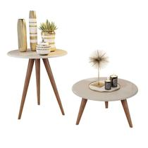 Kit mesa lateral e mesa centro off white natália pés retrô - CRB - J3 Móveis