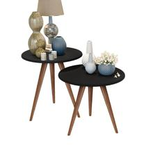 Kit mesa lateral e mesa centro preto isa pés retrô - America Cabeceiras - J3 Móveis