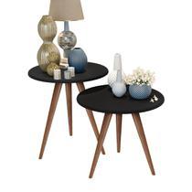 Kit mesa lateral e mesa centro preto isa pés retrô - CRB - J3 Móveis