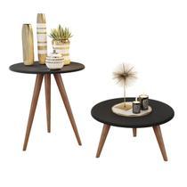 Kit mesa lateral e mesa centro preto natália pés retrô - America Cabeceiras - J3 Móveis