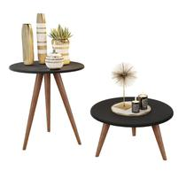 Kit mesa lateral e mesa centro preto natália pés retrô - CRB - J3 Móveis