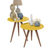 Kit mesa lateral e mesa de centro amarelo isa com pés retrô - J3 Móveis