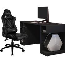 Kit Mesa Para PC Gamer Destiny com Cadeira Gamer TGC12 ThunderX3 Preto - Lyam Decor -