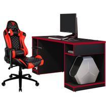 Kit Mesa Para PC Gamer Destiny com Cadeira Gamer TGC12 ThunderX3 Preto Vermelho - Lyam Decor -