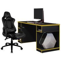 Kit Mesa Para PC Gamer Destiny Preto Amarelo com Cadeira Gamer TGC12 ThunderX3 Preto - Lyam Decor -