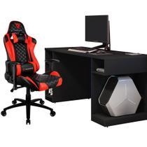 Kit Mesa Para PC Gamer Destiny Preto com Cadeira Gamer TGC12 ThunderX3 Preto Vermelho - Lyam Decor -