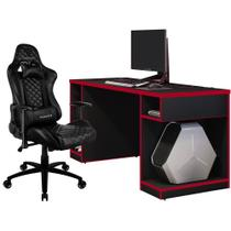 Kit Mesa Para PC Gamer Destiny Preto Vermelho com Cadeira Gamer TGC12 ThunderX3 Preto - Lyam Decor -